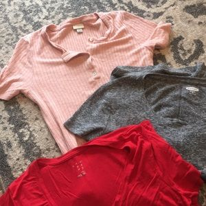 3 shirts (2 xs and 1 small) 2 target, 1 old navy